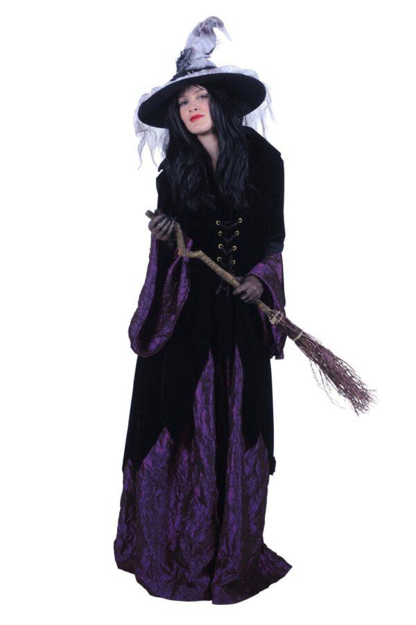 Damenkostüm Hexe Halowina schwarz-lila Gr. XL