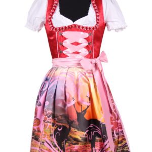 Dirndl Eliisa rot-pink-weiß Gr. 44 reduziert