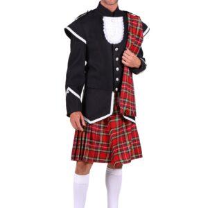 Schottenkostüm schwarz-rot-silber Gr.XL