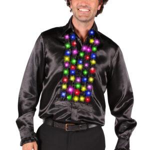 Rüschenhemd schwarz LED-multicolor Gr. L
