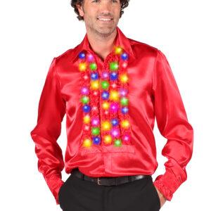 Rüschenhemd rot  LED-multicolor Gr. M