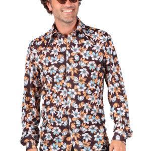 Herrenhemd Retro Hawai Blumen Gr. L