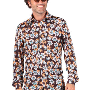 Herrenhemd Retro Hawai Blumen Gr. 2XL
