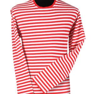 Ringelshirt langarm rot-weiß Gr. XL