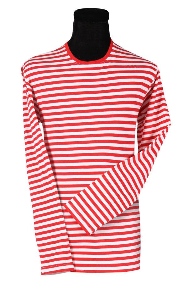 Ringelshirt langarm rot-weiß Gr.3XL