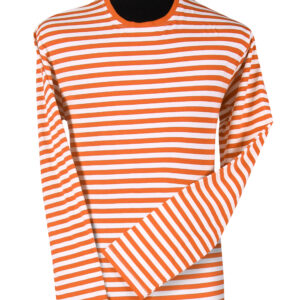 Ringelshirt langarm orange-weiß Gr. 3XL
