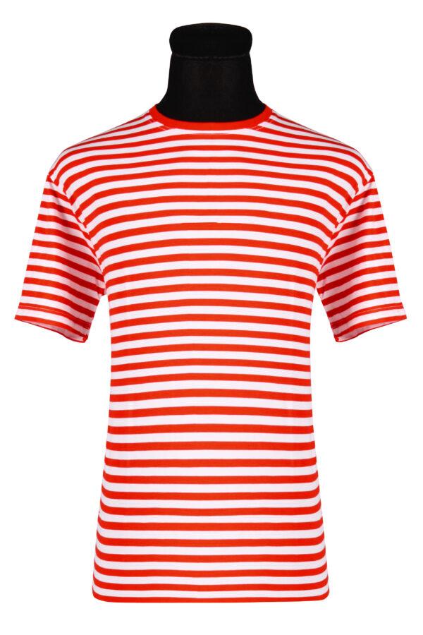 Ringelshirt kurzarm rot-weiß Gr.3XL