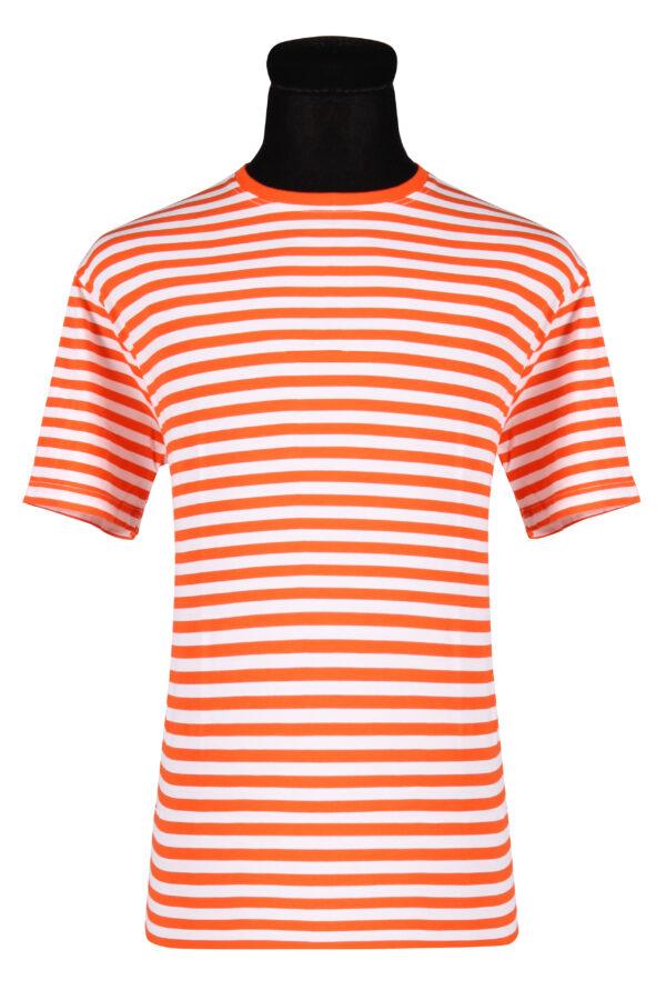 Ringelshirt kurzarm orange-weiß Gr. XL