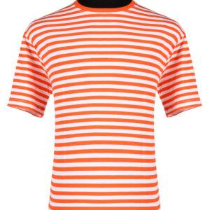 Ringelshirt kurzarm orange-weiß Gr.3XL