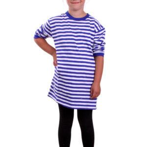 Ringelshirt Kinder blau/weiß langarm 128/140